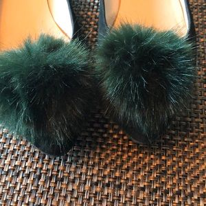 Cleo B Shoes - Forest green suede flat.
